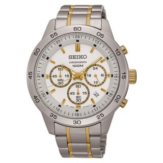 Seiko Men's SKS523 Stainless Steel Chronograph Watch with a White Dial and 100M Water Resistance