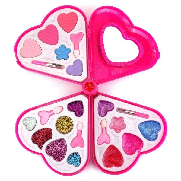 Fashion Girl Pink Heart Mirror Toy Make Up Case Kit