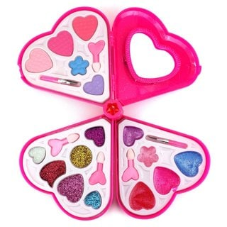 Fashion Girl Pink Heart Mirror Toy Make Up Case Kit