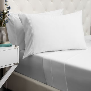 Andrew Charles All American Hemstitch 400 Thread Count Solid Cotton White Sheet Set