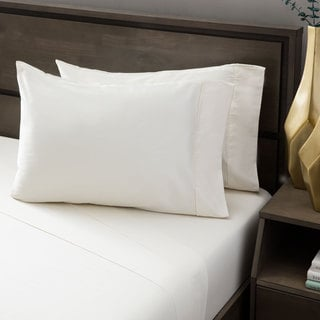 Andrew Charles Hemstitch 400 Thread Count Solid Cream Cotton Sheet Set