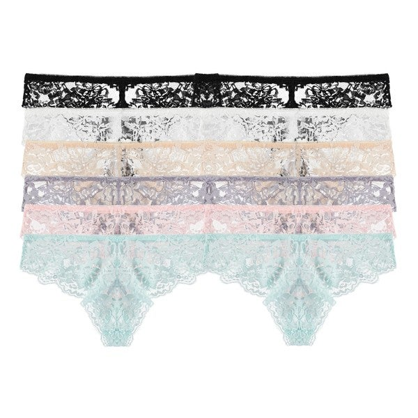 Free to Live Women's Floral Lace Stretchy Bikini Panties (Pack of 12)