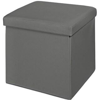 Grey Faux Leather Cushion Top Foldable Storage Ottoman