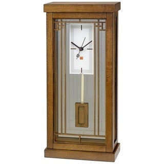 Bulova B1852 Frank Lloyd Wright Collection Solid Hardwood Case Walnut Finish Clock