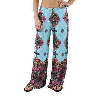 24/7 Comfort Apparel Women's Abstract Sky Blue Palazzo Pants