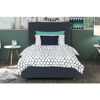 DHP Alexander Dark Blue Upholstered Twin Bed