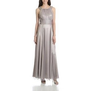 Cachet Women's Pewter Beaded Neckline Evening Gown