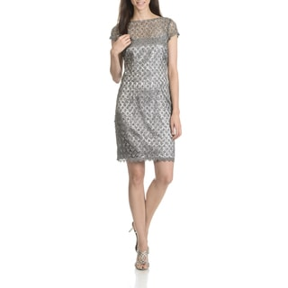 Cachet Women's Gunmetal Grey Sequined Lace Cocktail Dress