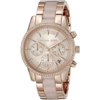 Michael Kors Women's MK6307 Ritz Rose-Tone Gold Chronograph Dial Two-Tone Bracelet Watch