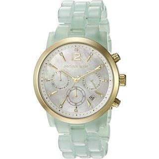Michael Kors Women's MK6311 Audrina Chronograph Mother Of Pearl Dial Green Acetate Bracelet Watch