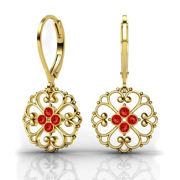 Lucia Costin Yellow Goldplated Sterling Silver Red Crystal Delicate Detail Earrings