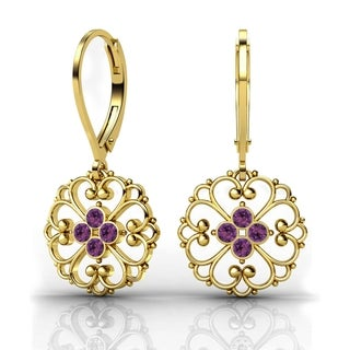 Lucia Costin Yellow Goldplated Sterling Silver Violet Crystal Earrings