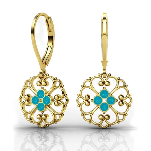 Lucia Costin Yellow Goldplated Sterling Silver Blue Crystal Lovely Detail Earrings
