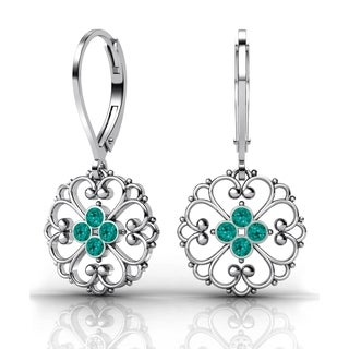 Lucia Costin Sterling Silver Turquoise Green Crystal Earrings
