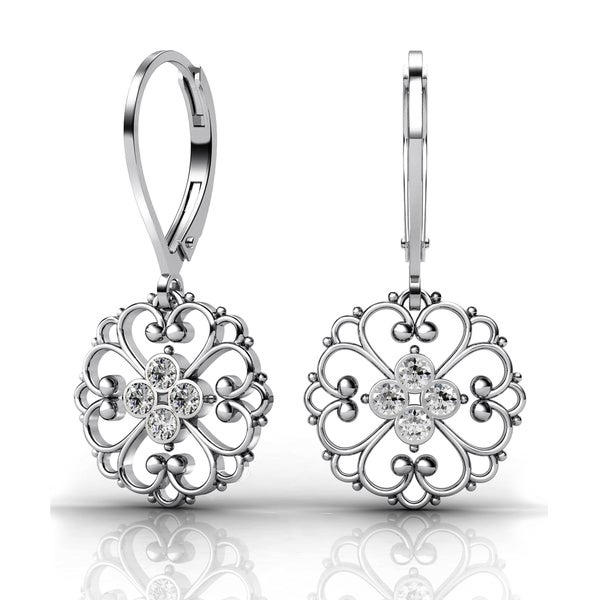 Lucia Costin Sterling Silver Clear Crystal Earrings