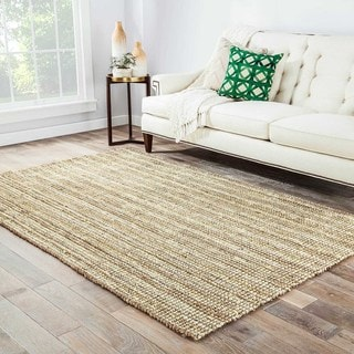 Naturals Solid Pattern Ivory/ Taupe Jute Area Rug (9' x 12')