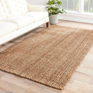 Naturals Solid Pattern Taupe/ Tan Jute Area Rug (10' x 14')