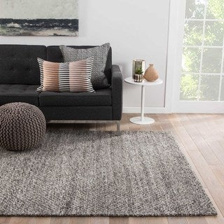 Contemporary Solid Pattern Grey Wool Area Rug (9' x 12')