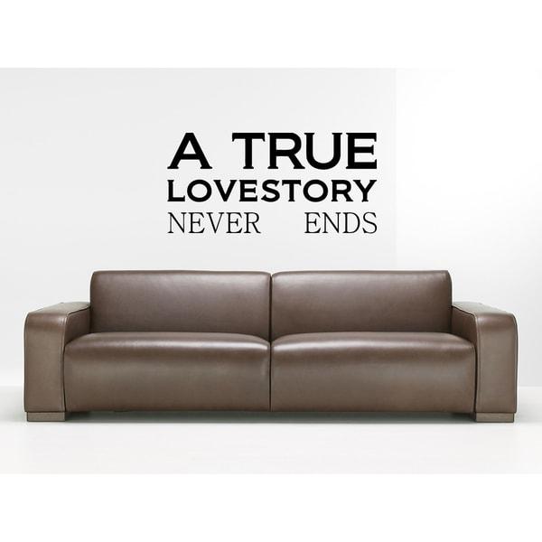 A True Love Story Never Ends Wall Art Sticker Decal