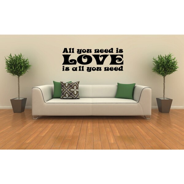 The writing is on the wall All You Need Love Wall Art Sticker Decal