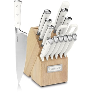 Cuisinart Classic Forged Triple Rivet 15-Piece Cutlery Set with Block, White/Stainless