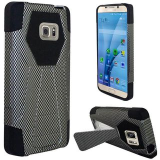 Insten Black Carbon Fiber Hard PC/ Silicone Dual Layer Hybrid Case Cover with Stand for Samsung Galaxy S7