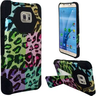 Insten Colorful/Black Leopard Hard PC/ Silicone Dual Layer Hybrid Case Cover with Stand for Samsung Galaxy S7