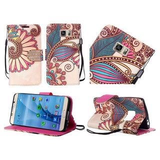 Insten Yellow Antique Flower Leather Case Cover Lanyard with Stand/Diamond for Samsung Galaxy S7