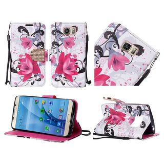 Insten Purple/White Lily Leather Case Cover Lanyard with Stand/Diamond for Samsung Galaxy S7