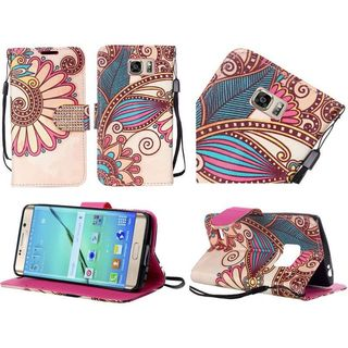 Insten Yellow Antique Flower Leather Case Cover Lanyard with Stand/Diamond for Samsung Galaxy S7 Edge