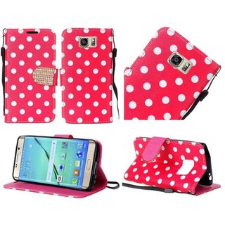 Insten Red/White Polka Dots Leather Case Cover Lanyard with Stand/Diamond for Samsung Galaxy S7 Edge