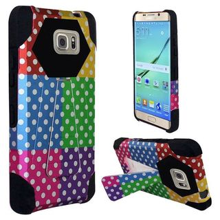 Insten Colorful/Black Polka Dots Hard PC/ Silicone Dual Layer Hybrid Case Cover with Stand for Samsung Galaxy S7 Edge