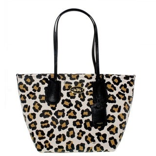 Coach Taxi Zip Top Tote In Ocelot Print Leather Shoulder Tote