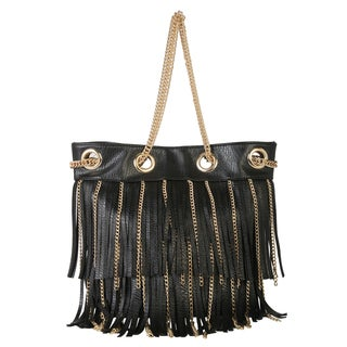 Diophy Faux Leather Fringed Tote Accented with Goldtone Metal Chain Strap