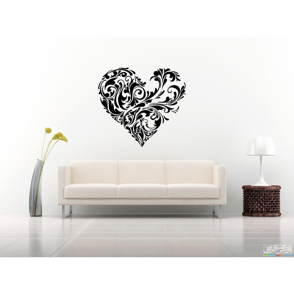 Template Flower Heart Wall Art Sticker Decal