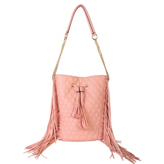 Diophy Faux Leather Fringed Quilted Tote Accented with Tassels Decor