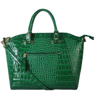 Diophy Elegant Crocodile Faux Leather Structured Satchel Handbag