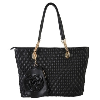 Rimen and Co. Quilted Faux Leather Tote with Flower Coin Pocket Bag
