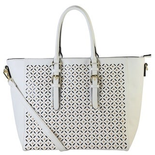Rimen and Co. Faux Leather Laser Cut and Studded Tote Handbag