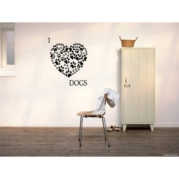 Traces of dog heart Wall Art Sticker Decal