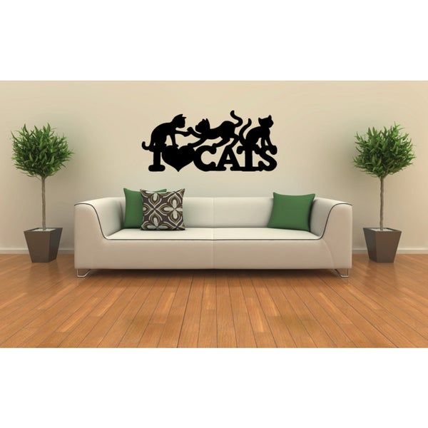 I love my cat playing kittens Wall Art Sticker Decal
