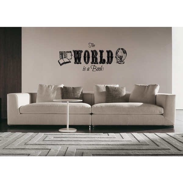 The World Is A Book quote Wall Art Sticker Decal