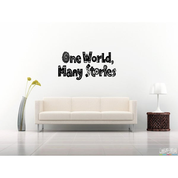 One world, many stories quote Wall Art Sticker Decal