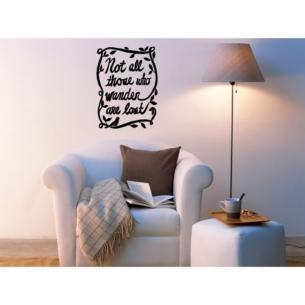Frame with flowers Not All Who Wander Are Lost Wall Art Sticker Decal