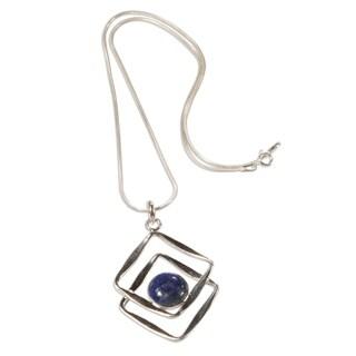 Handcrafted Sterling Silver 'Modern Inca' Lapis Lazuli Necklace (Peru)