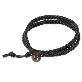 Men's Leather 'Double Ebony' Tiger's Eye Bracelet (Thailand)