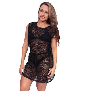 Women's Beach Dress Cover Up Crochet Tie Waist Sleeveless Swimwear Sexy