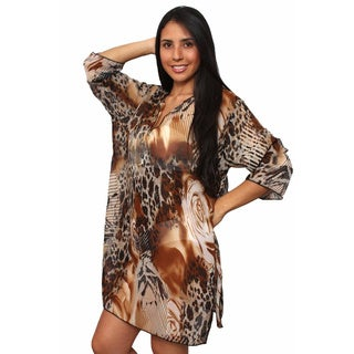 Plus Size Women's Beach Dress Cover Up Printed Long Sleeve Chiffon Swimwear