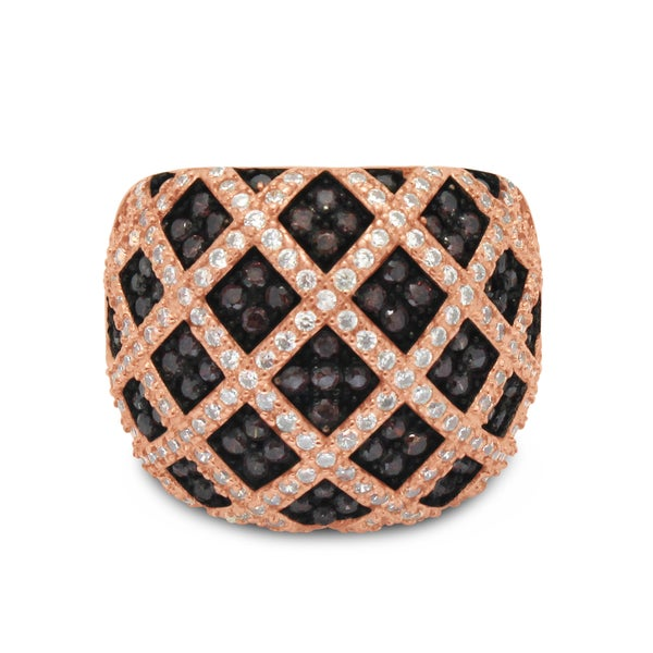 Gioelli Rose Gold over Silver Cross Hatch Mocha Cubic Zirconia Wide Pave Ring