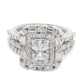Gioelli Sterling Silver Emerald-cut Cubic Zirconia Ring